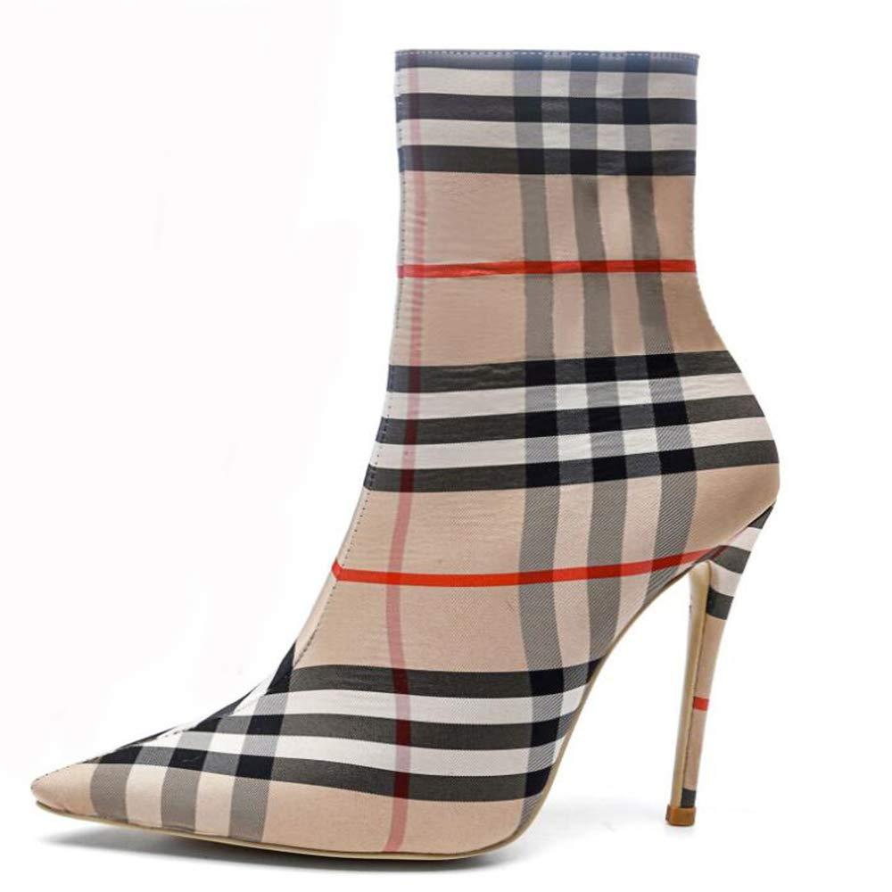 CITW Damenstiefel Herbstmode Persönlichkeit Plaid Muster Stiefel Großformat Damenstiefel Spitzen Stiletto Martin Stiefel,Beige,UK2 EUR36
