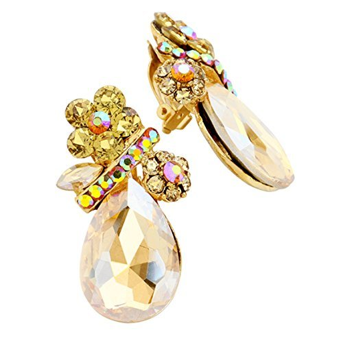 Rosemarie Collections Women's Crystal Rhinestone Clip On Earrings