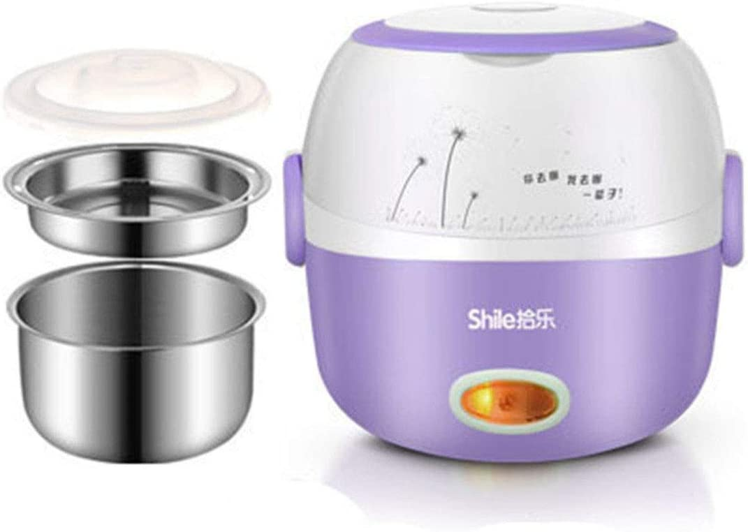 110V multi-function mini stainless steel heating electric heating lunch box insulation rice cooker hot rice steamer lunch box Purple 110V