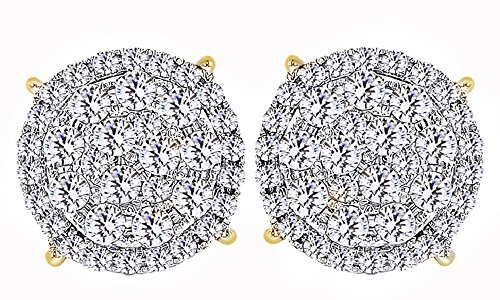 14K Solid Gold Round Cut White Natural Diamond Hip Hop Cluster Stud Earrings (1.78 Cttw) by wishrocks