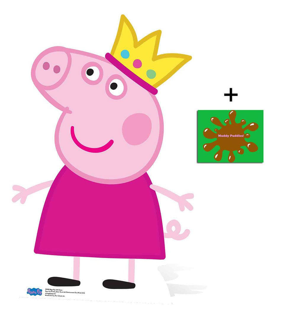 Fan Pack - Princess Peppa Pig wearing Crown Mini Cardboard Cutout / Stand Up / Standee - Includes 8x10 Star Photo