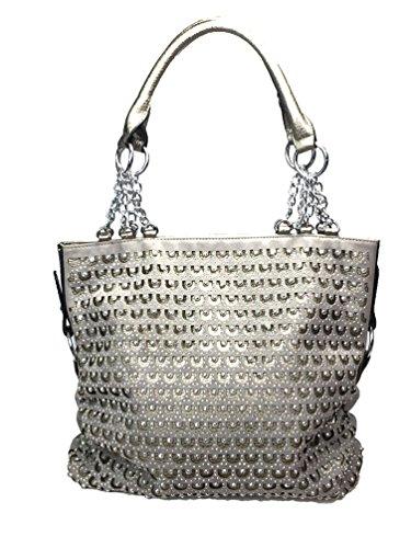 Zzfab 2nd Gen Chain Rhinestone Handbags Circle Sparkle Purses Pewter ()