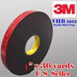 """Genuine 3M 1"""" (25mm) x 108 Ft (36 Yards) VHB Double Sided Foam Adhesive Tape 5952 Grey Automotive Mounting Very High Bond Strong Industrial Grade (1/2"""" (w) x 108 ft)"""