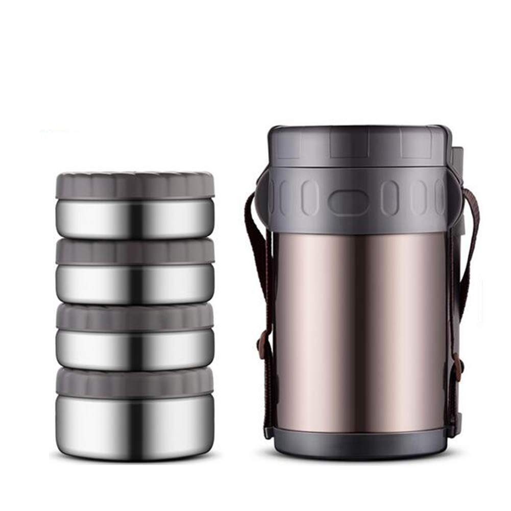 DINNA Insulation Thermal Lunch Stainless Food Flasks For Hot Food Thermal Soup Flask, BPA Free Insulated Container For Lunch With 4 Separate Bowls Eat Your Food Hot, 2000ML [Energy Class A]