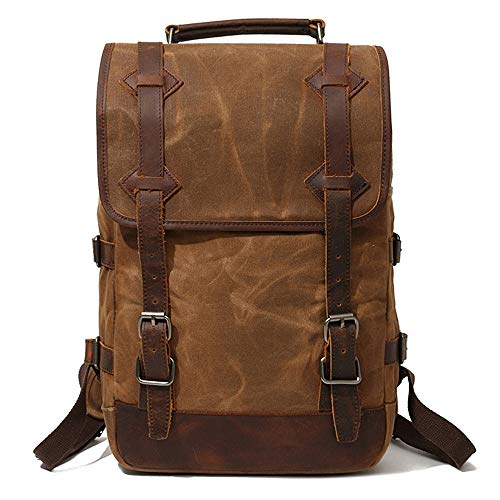 Sunsomen Men s Leather Waxed Canvas Vintage Laptop Backpack Campus Bag College Style Travel Rucksack Camping