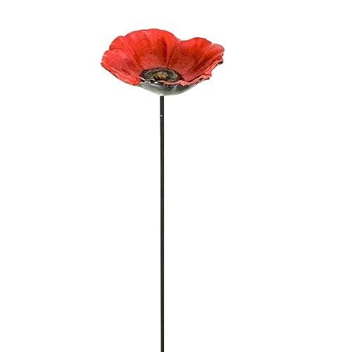 East2eden Cast Iron Red Poppy Or Sunflower Garden Ornament Decoration Wild  Bird Feeder Dish Bath (