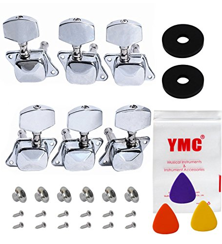 YMC Chrome-Tuning-Peg-Round220-3L3R 6 Pieces 3L3R Semiclosed Guitar Tuning Pegs Tuners Machine Heads ()