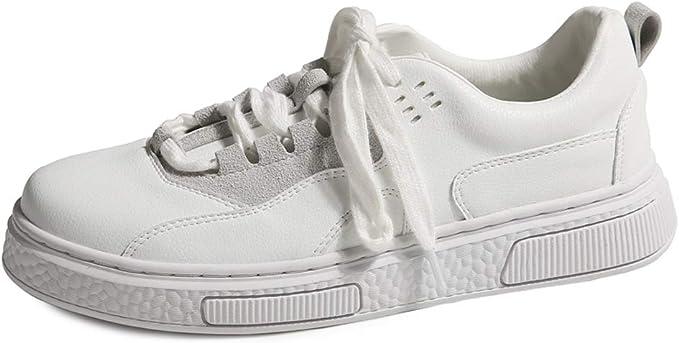 SHI Zapatos Planos Bajos Superiores Blancos para Mujer Zapatos con Cordones Casuales Zapatillas de Skate Transpirables (Color : Blanco, Tamaño : 37): Amazon.es: Hogar
