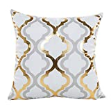Decorative Pillow Cover - Super Soft Throw Pillow Case Cover Gold Foil, FreshZone Christmas Pillow Covers 18x18 Xmas Pillow Case Decorative (Gold C)