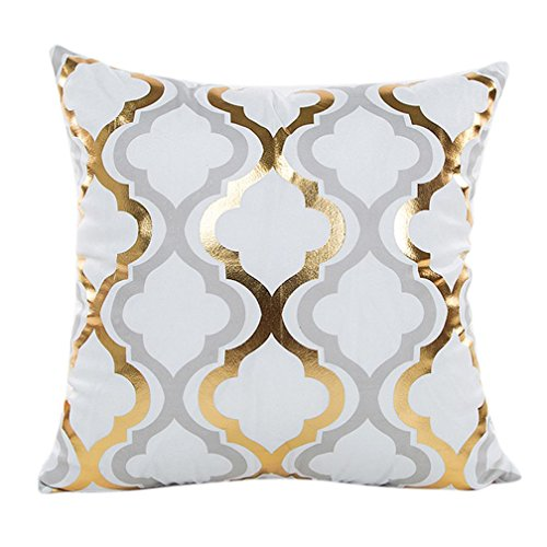 Super Soft Throw Pillow Case Cover Gold Foil, FreshZone Christmas Pillow Covers 18 x 18 mas Pillow Case Decorative (Gold C)