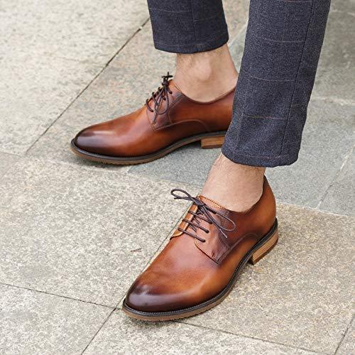 mano Size Brown Scarpe XZP per Brown Derby Scarpe EU Vintage a uomo 45 fatte Color PxPtFST