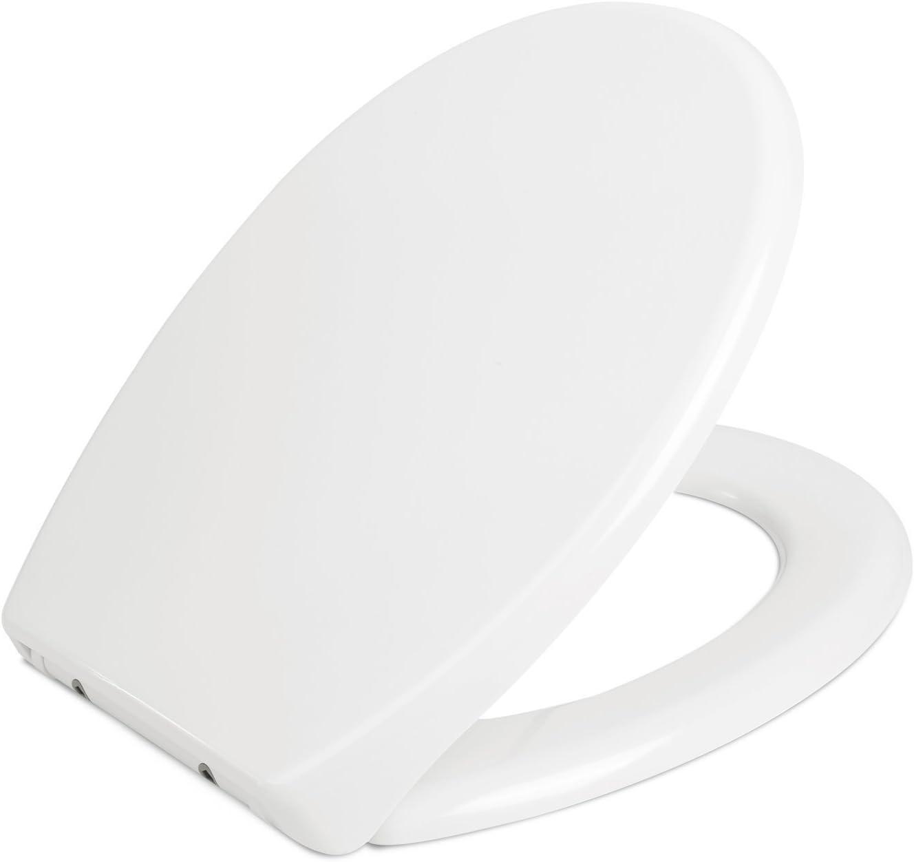 HOMFA Tapa y Asiento WC Universal Cierre Suave y Bajada Lenta de Plástico Duro Tapa de Inodoro con Freno Fácil para Instalación y Desmontaje en Forma de O de Color Blanco 44.5x36.8x5.3cm