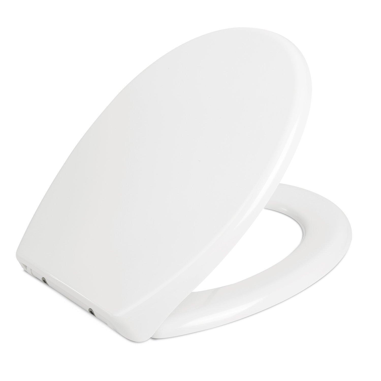 HOMFA WC Sitz Toilettensitz mit Absenkautomatik Duroplast Quick-Release Edelstahl Scharniere überlappend Toilettendeckel Weiß D-Form WC-Deckel HF