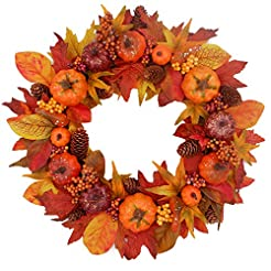 Tiny Land 20 inches Fall Wreath for Fron...