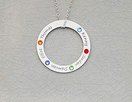Family Birthstone Necklace - IBB_19 IBD - Circle Pendant Grandma Mom Gift - 935 Sterling Silver - Tiny Swarovski Birthstone Crystal - Generation Grandchildren Kids Birth Months Colorful