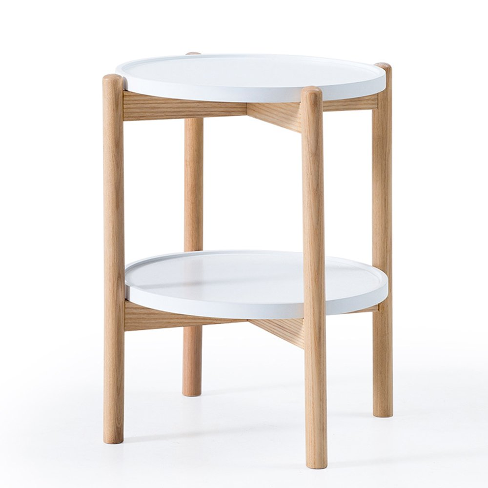 MEIDUO Folding Tables Wood Coffee Table Double Circular Storage More Space Available 46  46  54cm