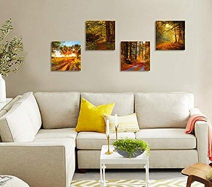 Fleurs color/ées Lavande sous Le Lever du Soleil Imprime sur Toile d/écor Mural en Bois encadr/é CUFUN Art 30 x 30 cm x 4 pcs