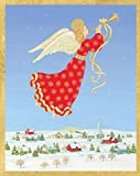 Entertaining with Caspari Angel Over Town Christmas Cards, Box of 16