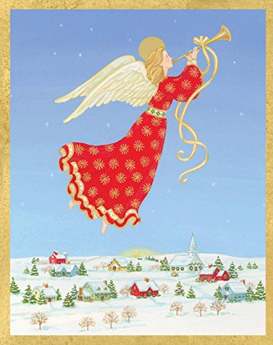Entertaining with Caspari Angel Over Town Christmas Cards, Box of 16 by Entertaining with Caspari