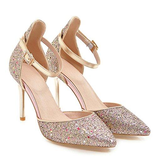 ea993cd2ff0c ... Pumps Stiletto mit Elegante Riemchen Schnalle Glitzer Heels Atyche  Spitze Sandalen und Schuhe High Damen 1XqPx8Zf ...
