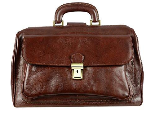 Leather Doctor Bag, Briefcase, Satchel Bag, Medical Bag Medium Red Brown - Time Resistance