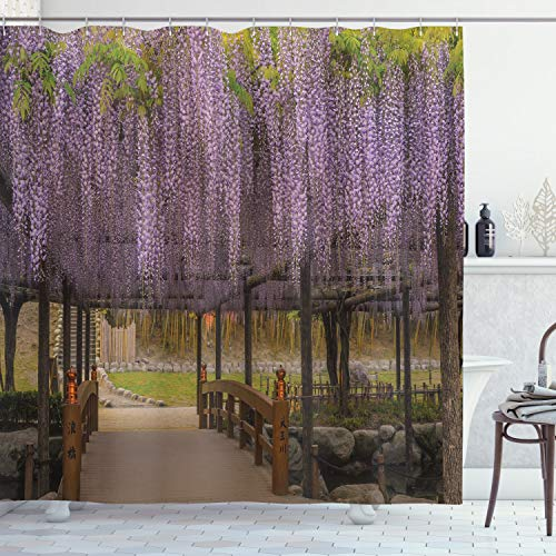 Ambesonne Japanese Decor Collection, Dreamy Lilac Flowers Hanging Down from Terrace Top to Bottom Field Paradise Scenery, Polyester Fabric Bathroom Shower Curtain Set with Hooks, Purple Brown