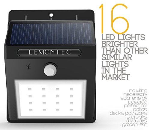 online retailer 1ac33 d4693 Solar Lights, Lemontec Garden Waterproof Wireless Security Bright Motion  Sensor solar spotlight Lights For Outdoor Wall yard deck , Wall Light ...