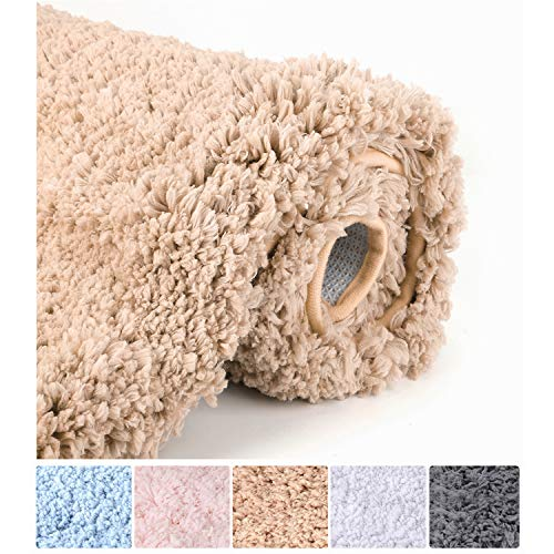 Luxury Brown Bathroom Rugs Shaggy Bath Rug Non Slip Bath Mat (20 x 32) - Efficient Water Absorbent, Machine Wash/Dry & Extra Soft Plush Bath Tub Mat for Bathroom, Living Room and Laundry Room (And Tan Brown Rug)
