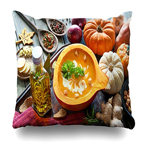 Decorativepillows Case Throw Pillows Covers for Couch/Bed 18 x 18 inch, Pumpkin Cream Autumn Food Home Sofa Cushion Cover Pillowcase Gift Bed Car Living Home
