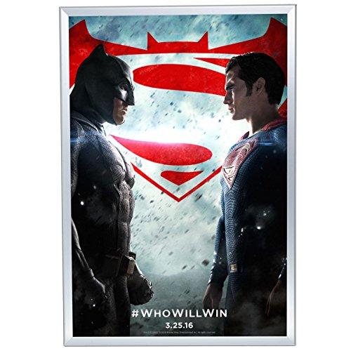 """Movie Poster Frame 27x40 Inches, Silver SnapeZo 1.25"""" Aluminum Profile, Front-Loading Snap Frame, Wall Mounting, Professional Series for One Sheet Movie Posters"""