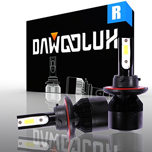 DAWOOLUX H13/9008 LED Headlight Bulbs Conversion Kit Flip COB Chips/Internal Driver-Dual All-in-one High/Low Beam Extremely Bright 6500K Cool White 6400 Lumens 60W, 2-Years Warranty (Ram Set Chip Via)