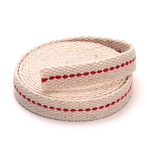 """Light Of Mine 3/8"""" Inch 100% Cotton Flat Wick 6 Foot Roll for Paraffin Oil or Kerosene based Lanterns and Oil Lamps with Genuine Red Stitch Superior Quality (3/8"""")"""
