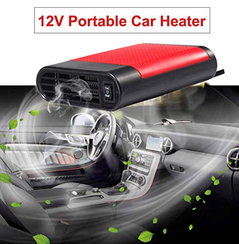 Acidea Portable Car Heater, Auto Heater Fan, Car Defogger, Fast Heating Defrosts Defogger 12V 150W Vehicle Heat Cooling Fan Auto Ceramic Heater with 360 Degree Rotary Holder Plug in Cig Lighter (Red) (Cigarette Base Electronic)