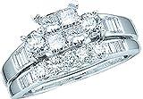 10K White Gold .53ct Diamond Ladies Bridal Wedding Ring set. Center Setting is 4 Invisible Set Princess Cut stones matching Wedding Band Size - 7