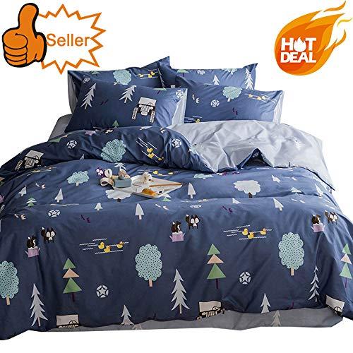 OTOB Cotton Cartoon Fox Duck Print Boys Girls Twin Bedding Sets for Kids Bed Toddler Children Duvet Cover Set Blue,Cute Soft Lightweight 3 Pieces Teen Trees Home Textile Bedding
