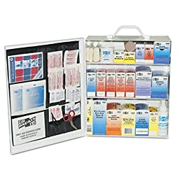 Pac-Kit by First Aid Only 6155 493 Piece Steel Cabinet Industrial 3 Shelf First Aid Station with Wall Mount Slots and Handle, 17.5\