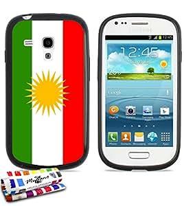 Carcasa Flexible Ultra-Slim SAMSUNG GALAXY S3 MINI de exclusivo motivo [Bandera Kurdistan] [Negra] de MUZZANO  + ESTILETE y PAÑO MUZZANO REGALADOS - La Protección Antigolpes ULTIMA, ELEGANTE Y DURADERA para su SAMSUNG GALAXY S3 MINI
