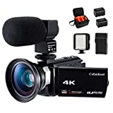 4K Camcorder Vlogging Video Camera for YouTube CofunKool 60FPS 48MP Ultra HD WiFi Night Vision 16X Digital Zoom with Microphone Wide Angle Lens LED Light Battery Charger Shoulder Bag (2 Batteries)