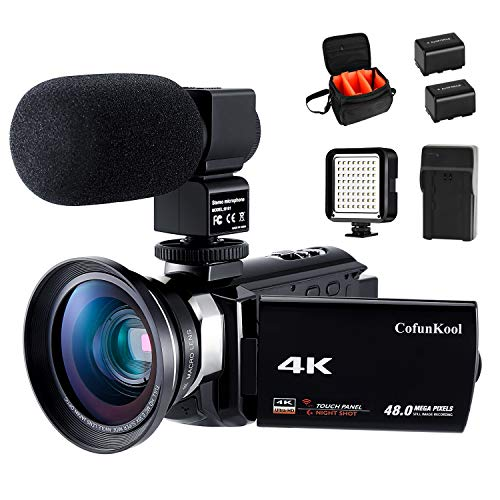 4K Camcorder Vlogging Video Camera for YouTube CofunKool 60FPS 48MP Ultra HD WiFi Night Vision 16X Digital Zoom with Microphone Wide Angle Lens LED Light Battery Charger Shoulder Bag (2 Batteries) from CofunKool