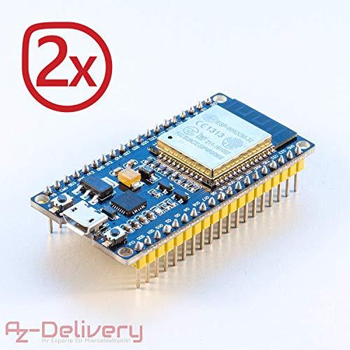AZDelivery 2 x ESP32 NodeMcu WiFi CP2102 Module Development Board Including Free eBook!