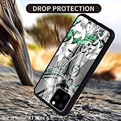 H10- Green Flower and Rhinestone Pattern Protective Non-Slip Phone Cover