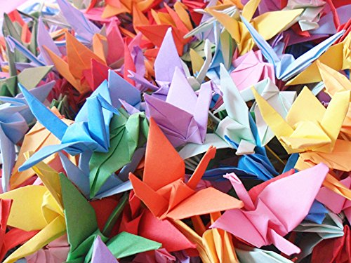 (Hangnuo 50 PCS Origami Paper Cranes Folded DIY Japanese Crane Mobile String Garland for Wedding Party Backdrop Home Decoration, Mix Color)