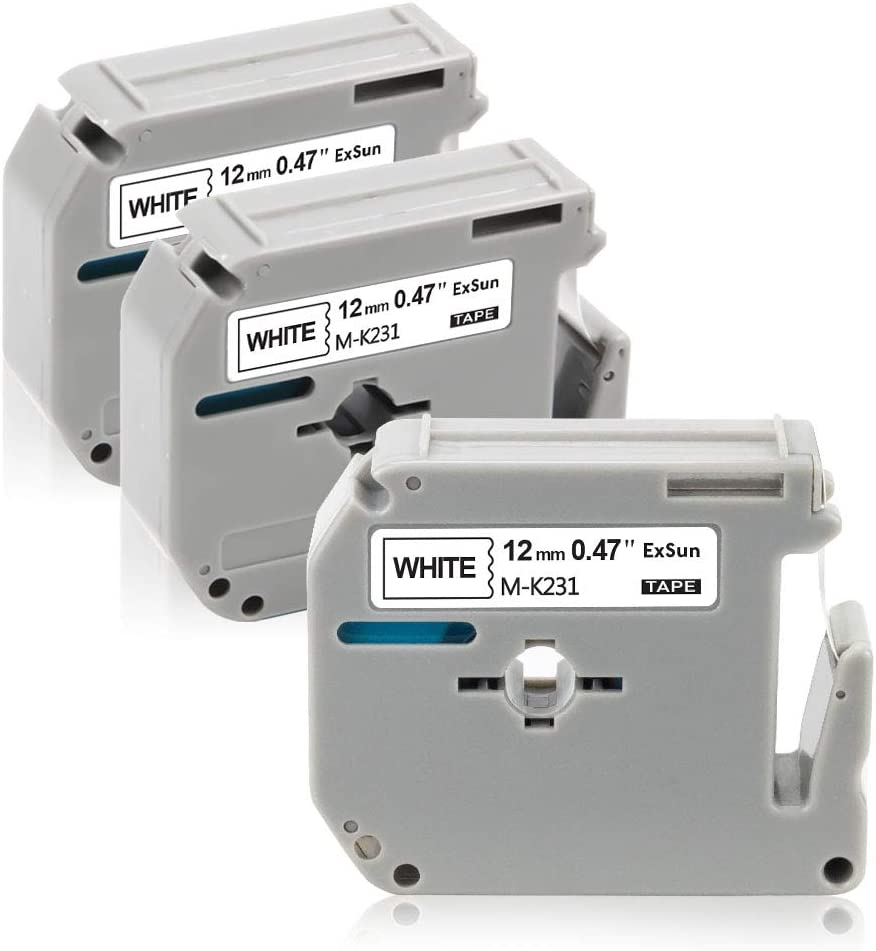 Black on White Exsun 3 x Compatible Label Tape Replacement for Brother M-K231BZ MK231 Tape Cassette 12 mm x 8m M Tape for P-Touch PT-90 PT-80 PT-M95 PT-100 PT-55 PT-65 PT-70 PT-85 Label Makers