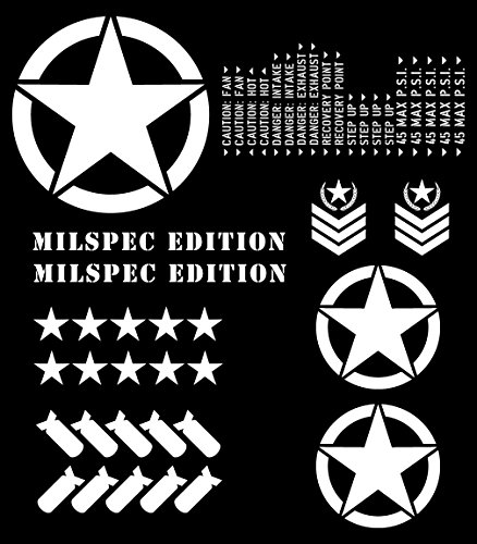 - Auto Vynamics - THEME-ME-MWHI - Matte White Vinyl MILSPEC Edition Theme Package - Complete (30) Piece Kit - Jeep & Toyota Wrangler YJ / TJ / LJ / JK / JKU, Cherokee XJ, Grand Cherokee ZJ / WJ / WK / WK2, FJ Cruiser