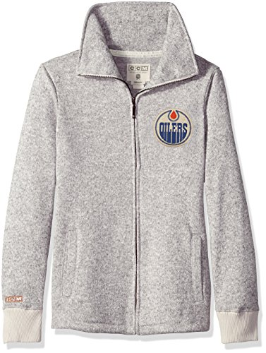 - adidas NHL Edmonton Oilers Womens CCM Fleece Track Jacketccm Fleece Track Jacket, Grey Heathered, Large