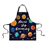 iPrint Personality Apron,Quote,Outer Space Planets and Star Cluster Solar System Moon and Comets Sun Cosmos Illustration,Multi,Picture Printed Apron.29.5''x26.3''