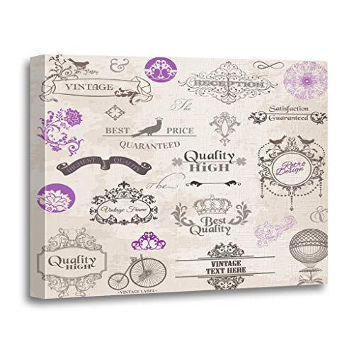 Emvency Painting Canvas Print Wooden Frame Artwork Purple Wedding Calligraphic and Page Vintage Collection Flowers Border Decorative 20x30 Inches Wall Art for Home Decor -