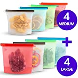 Reusable Eco Silicone Food | Storage Bulk Bags Size Ziplock Plastic Containers | Cooking Bag Sets for Sous Vide Liquid Snack Lunch Freezer Microwave 8 silicone storage bags for Fruits Vegetables Set