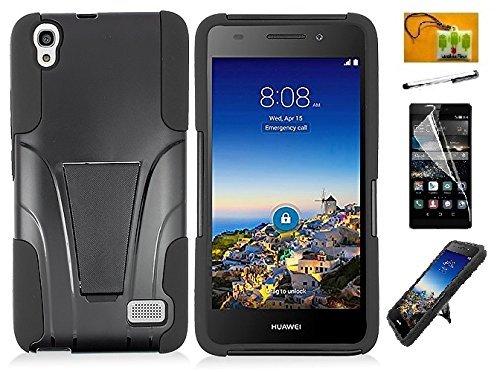 Huawei Pronto LTE H891L / G620 (Net 10, Straighttalk, Tracfone) LF 4 in 1 Bundle, Rubberized Slim Dual Layer Hybrid Cover Case, Stylus Pen, Screen Protector & Wiper Accessory (Hybrid Black)