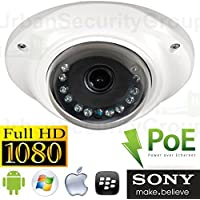 USG Low Profile 2.5 2MP 1080P IP Dome Security Camera: 1/2.5 SONY HD Sensor, 3.6mm Wide Angle Lens, PoE, 12x IR LEDs, IR-Cut, IP66 NEMA 4x Outdoor Rated, ONVIF, Vandal Proof, For Home & Business